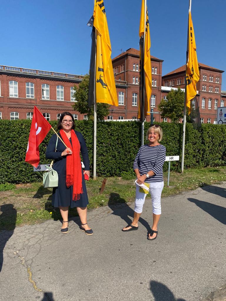 Abordnung des SPD Ortsvereins Burtscheid bei der Mahnwache am 22.9.2020 Renate Wallraff, Walltraut Renartz, nicht im Bild Astrid Siemens
